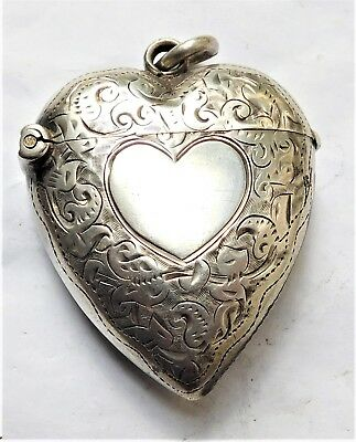 NO RESV HM 1897 Heart Shaped Silver Vesta Case Match Holder Safe Vintage Antique