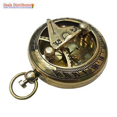 Push Button Brass Pocket Compass Sundial Antique Gift Vintage Handmade Style New