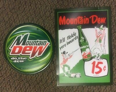 2 Large Mountain Dew Tickle Yore Innards Pop Soda Metal Tin Signs Vintage