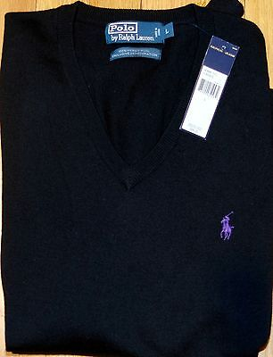Polo Ralph Lauren V-Neck 100% Merino Wool Sweater Pullover Size L  NWT