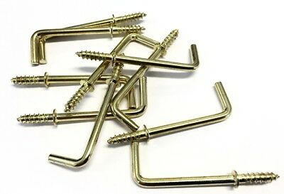 10 Pack of Electro Brass Shouldered Straight Dresser Hook Hooks 50mm Overall