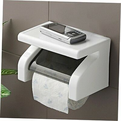 Toilet Tissue Paper Holder WallMounted Plastic Waterproof Roll PaperBox CO
