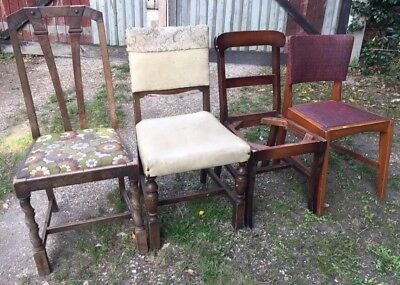 Dining Chairs Vintage Retro Style - Set Of 4 Odd Ideal For Project Mixed