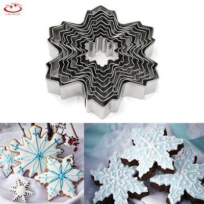 9pcs Christmas Snowflake Biscuit Cookie Cutter Cake Decor Baking Mold Mould Tool