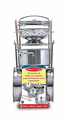 Melissa & Doug Stainless Steel Pots and Pans Pretend Play Kitchen Set for... New