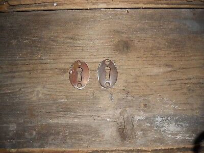 VTG 2 AGED Antique Steampunk BRASS Door Lock Skeleton KEY HOLE COVER Back Plates