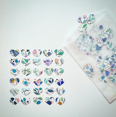 Bespoke Letterpress Floral Heart Confetti 60 small pieces - Ideal for planner