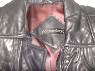 Men's Marc Andrew Marc Bomber Leather Jacket Size Small Black