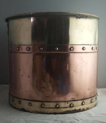 Vintage Copper & Brass Banded Coal Bucket Or Log Bin.