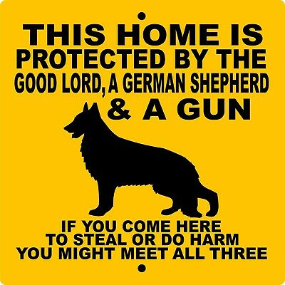 "GERMAN SHEPHERD DOG SIGN,9"" x 9"" ALUMINUM,NO TRESPASSING,Gate,Fence,GLGSGUN9x9"