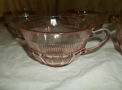 5  Vintage Pink Anchor Hocking Depression Coronation Glass Cup (S)