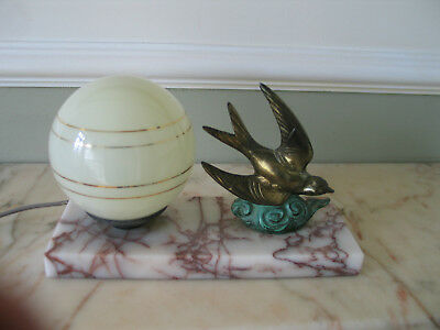genuine art deco lamp  with  spelter swallow