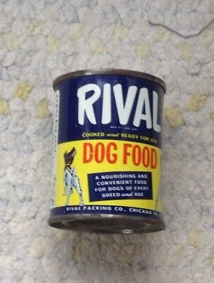 Vintage Small RIVAL DOG FOOD Promotional Tin Can Coin Bank
