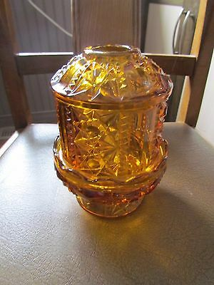 Amber Covered Fairy Lamp by Indiana Glass Star & Bars Candle Holder