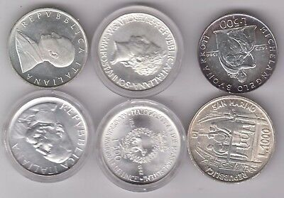 SAN MARINO/ITALY lot 6x silver coins, mostly Bu grade, see image for detail P138