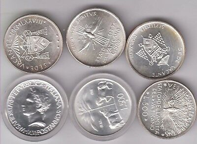 SAN MARINO/ITALY lot 6x silver coins, mostly Bu grade, see image for detail P143