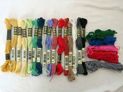 Lot Of 22 DMC Cotton Embroidery Cross Stitch Threads - Mixed Colors