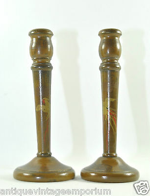 Antique Vintage Oriental Candle Sticks Gilt Painted Birds X2 Decor