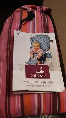 Totseat cloth high chair, pink with carry pouch