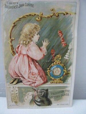 """Liberty Breakfast Java Coffee """"Through The Looking Glass"""" Victorian Trade Card"""