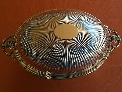 Rare Antique Silver Plated Roll-Top Breakfast Dish