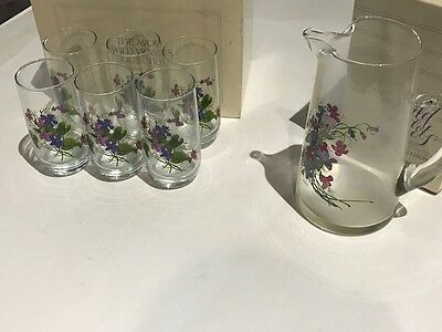Vintage Avon Wild Violets Collection Crystal Pitcher & 6 Crystal Tumblers E482