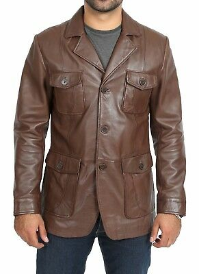 Mens Fitted Safari Leather Jacket Brown Retro Blazer Classic Hunters Reefer Coat