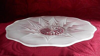 Fluted Opaque and Clear Glass Plate Lalique? 28 cm Diameter - Used
