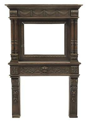 Henri II-Style Carved Oak Fireplace Surround, 19th century 1800s