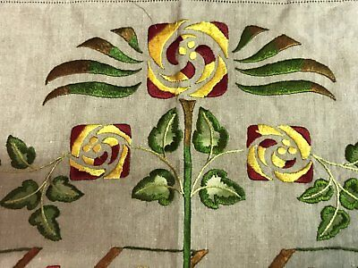 Antique Arts & Crafts Linen Embroidered Top half of Pillow Cover Macintosh Rose