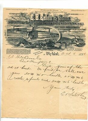 Vintage Illustrated Letterhead EB ESTES & SONS Wooden Boxes NY 1894 huge graphic