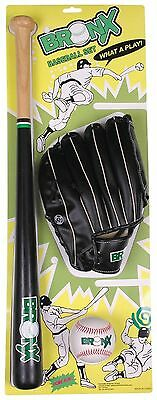 """Bronx Wood Bat Ball and Glove Baseball Set size 25"""" length for youngster gift"""