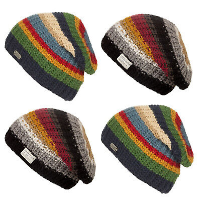 52a3c67dad9 Kusan 100% Wool Multi Coloured Stripe Floppy Beanie (PK1615 1715)