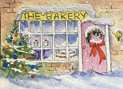 Original Art Small ACEO painting watercolour Bakery in Snow by Pamela West