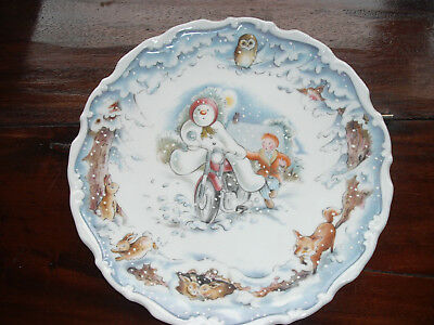 Royal Doulton Rare Plate 'snowman's Motorbike Ride' Fourth In Series