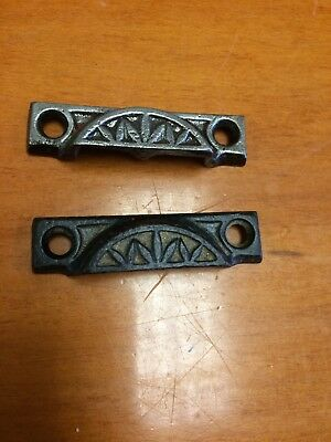 2 Antique Cast Iron Eastlake Victorian Window Sash Lock Keepers Strikers Only