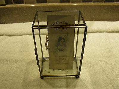 Vintage Brass Glass Rectange Display Box Cabinet Footed With Old Christmas Card