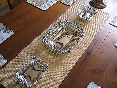 Rare Set Of 3, Fabulous Victorian William Comyns Solid Silver Buffet Baskets.