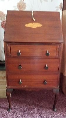 Marquetry shell inlay vintage small writing bureau, desk, drawers,home office,