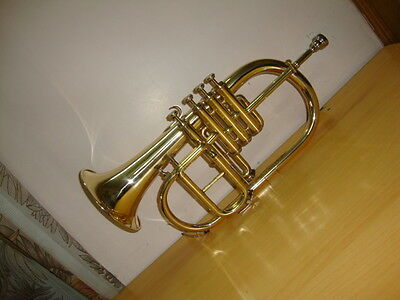 *HIGH GRADE! BRASS Bb/F 4 VALVE FLUGEL HORN FREE CASE+M/P 5 DAY FAST DELIVERY