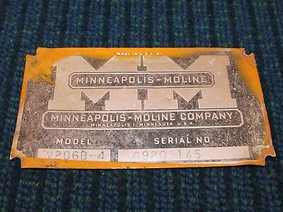 Vintage Minneapolis-Moline Farm Tractor Gas Oil Inspection Plate Metal Sign V206