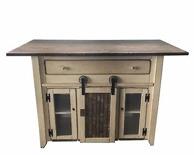 Country Kitchen Island with Barn Doors - Counter Height - Amish Made in USA