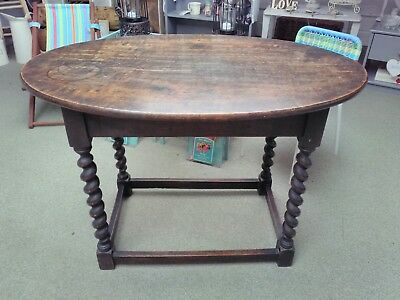 vintage antique Victorian solid oak oval side hall occasional coffee table
