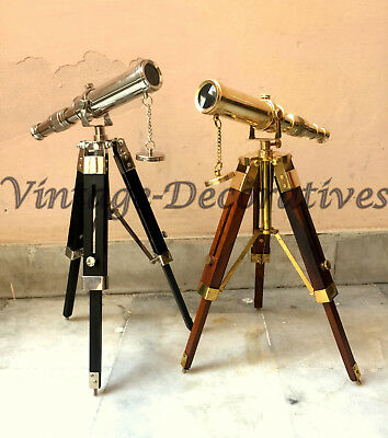 SET OF 2 Vintage Solid Brass Telescope With Tripod Pirate Working Spyglass Decor