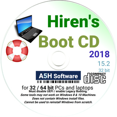 Hirens Boot CD Revive, Restore, Repair, and Recovery - HBCD XP Vista 7 8 10