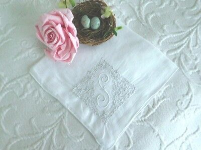 AnTiQuE MADEIRA * Embroidered BRIDAL Monogram S * ROMANTIC Vintage WEDDING HANKY