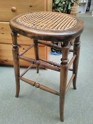 Victorian antique rustic farmhouse stool with cane seat