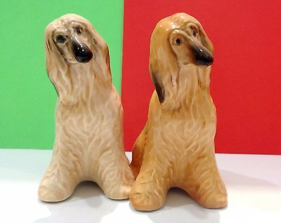 2 Afghan Hound Dogs porcelain figurines Souvenirs Russia hand painted