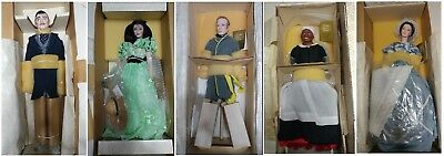 """Gone with the wind Collection of (5) 18"""" Porcelain Dolls Franklin Mint - NIB"""