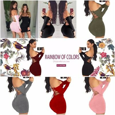 Lace Up Off Shoulder Sexy Backless Women Mini Female Long Sleeve Winter Dress